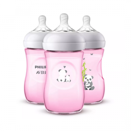 Philips Avent Natural Deco Pink Panda Baby Bottle, 9 oz